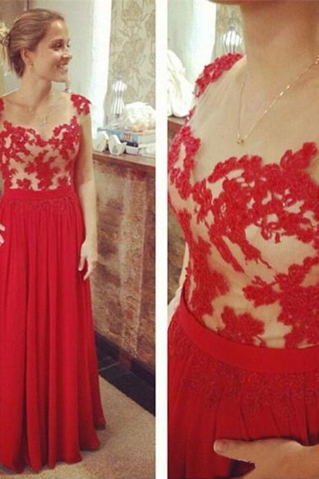 Scoop Neck Red Long Prom Dresses Lace Beaded Women party Dresses