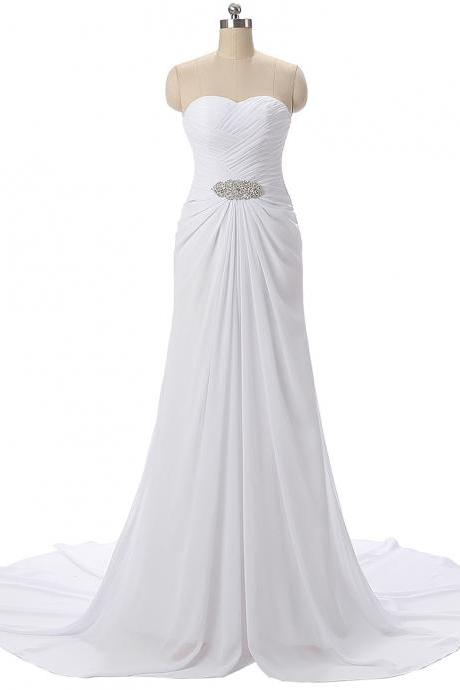Mermaid White Chiffon Prom Dresses Pleat Sweetheart Neck Crystals Women Party Dresses