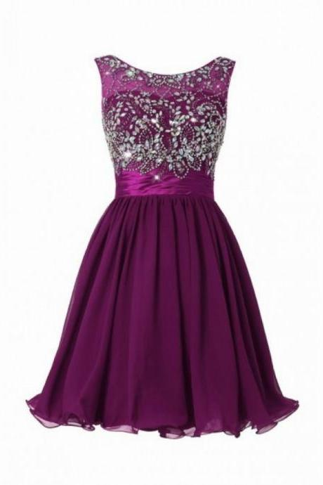 Purple Chiffon Homecoming Dresses Scoop Neck Crystals Women Party Dresses