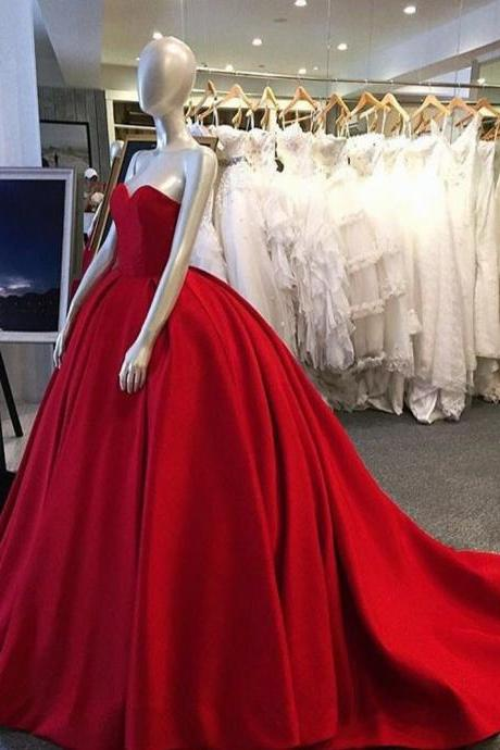 Dark Red Ball Gown Satin Prom Dresses Sweetheart Neck Women party Dresses