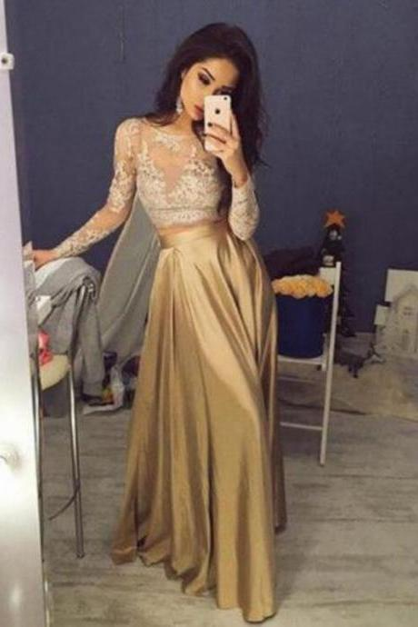 Two piece Long Sleeve Lace Formal Evening Prom Gown Party Dress Custom