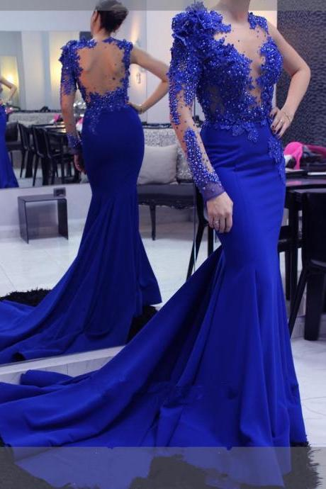 Royal blue Mermaid Prom Dress Beaded Pearl Evening Pageant Celebrity Party Gown