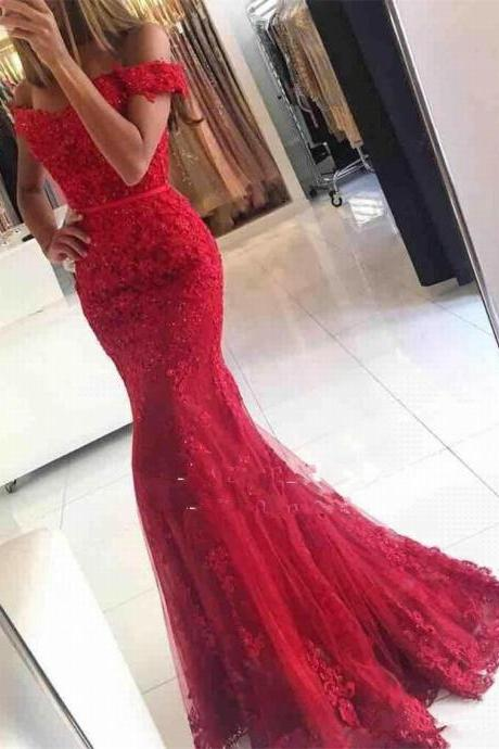 Glamorous Mermaid Lace Off-the-shoulder Red Appliques Evening Dress Custom-made