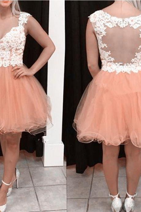 Short Tulle Homecoming Dresses Lace Appliques Women Party dresses