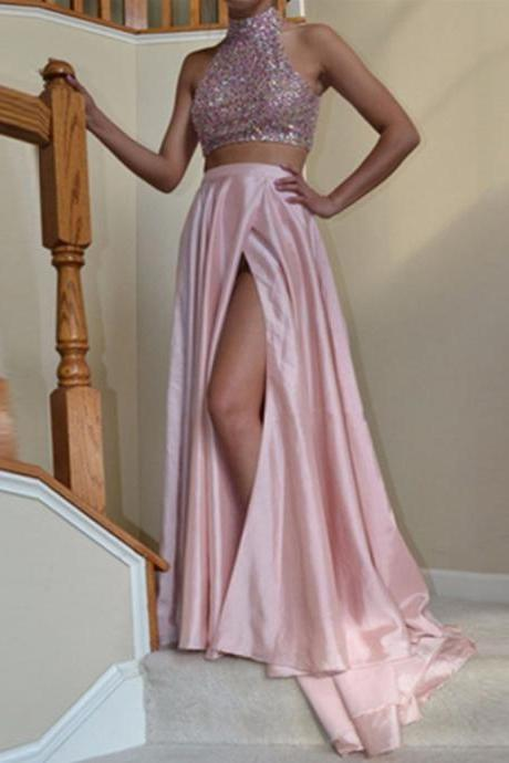 Two Parts Long Satin Prom Dresses Crystals Women Party Dresses