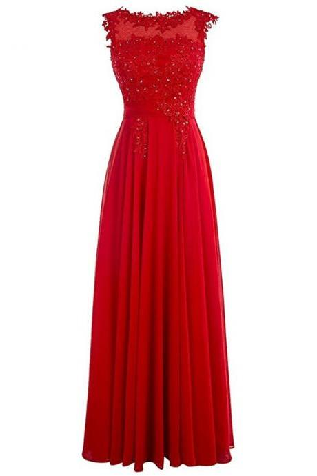 Scoop neck Long Chiffon prom Dresses Red Crystals Women Dresses