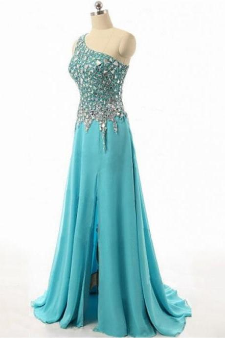 One Shoulder Chiffon Prom Dresses Crystals Women Party Dresses