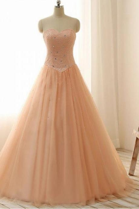 Sweetheart Crystals Tulle Prom Dresses Custom Made Women Dresses
