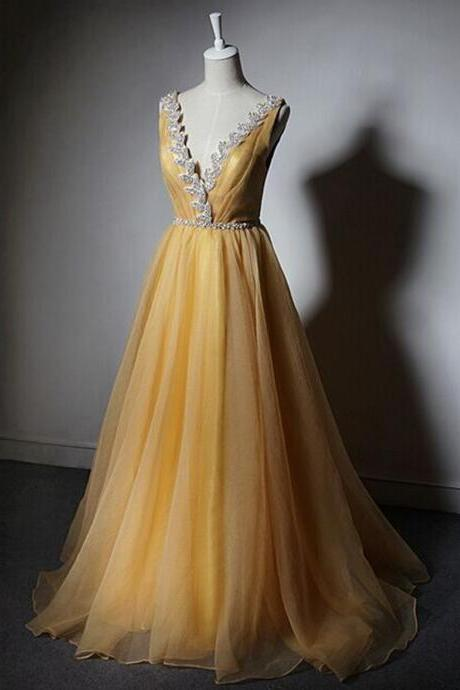Yellow Chiffon Prom Dresses Crystal Women Party Dresses