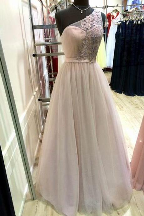 One Shoulder Tulle Prom Dresses Lace Appliques Women Party Dresses