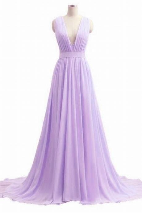 Light Purple Chiffon Prom Dresses Pleat Women party Dresses