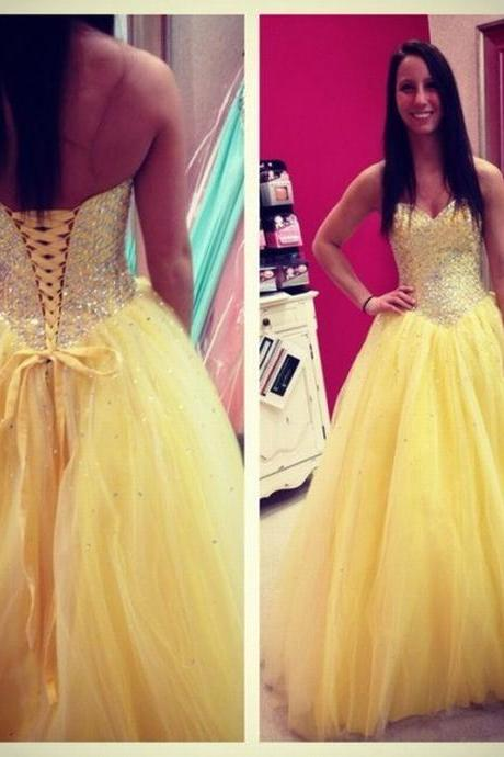 Yellow Tulle Prom Dresses Sweetheart Neck Crystals Women Party Dresses