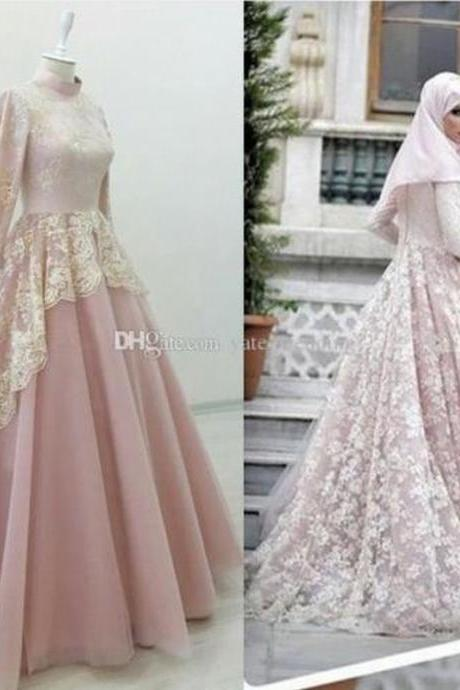 Gorgeous Muslim Evening Dress High Neck Lace Tulle Pink Abaya Kaftan Prom Gown