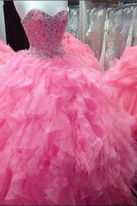 2017 New Pink Beaded Long Quinceanera Dress Ball Gown Prom Party Evening Custom