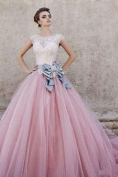New Pink Lace Tulle Ball Gown Long Prom Evening Dresses Wedding Dresses Custom