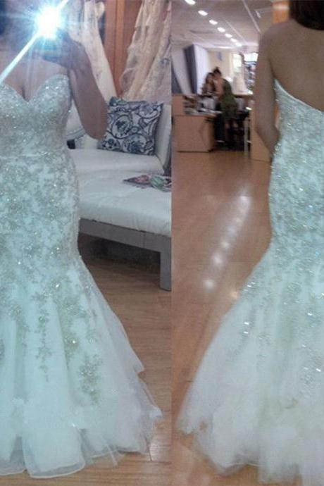 New Fashion Formal Mermaid Wedding Dress Bridal Gown Custom Size 6-8-10-12-14