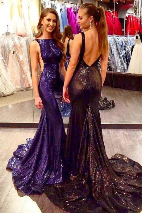 New Sweep Long Sequins Prom Dresses Backless Pageant Mermaid Evening Party Gowns