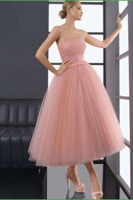 New Tea-length Tulle Bridal Ball Gown Evening Dress Prom Wedding Gown