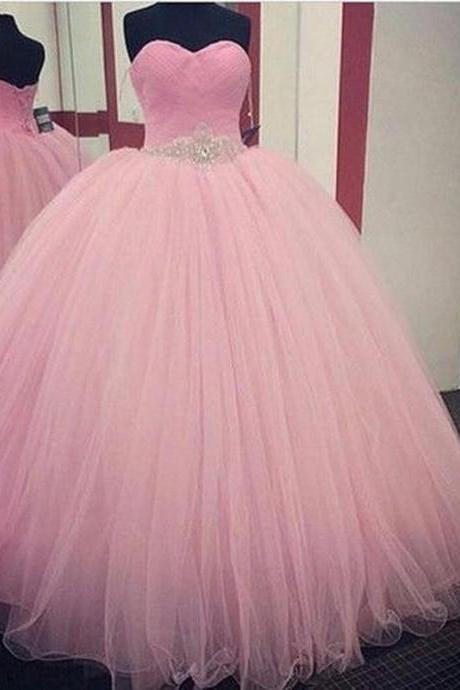 New Pink tulle Quinceanera Formal Prom Party Ball Gown Wedding Dress Custom size