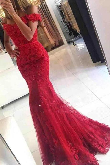 New Glamorous Mermaid Lace Off-the-should Red Appliques Evening Dress Custom