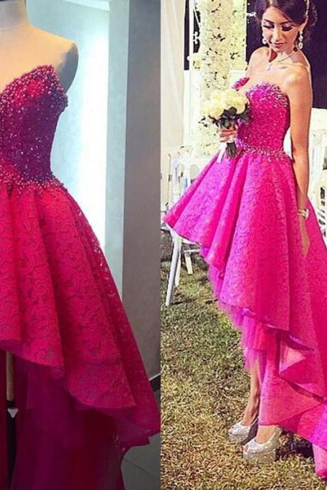 New High Low Prom Dress Beads Sweetheart Party Pageant Evening Gown Custom