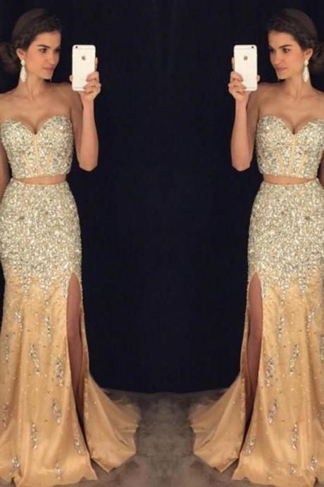 Formal Beaded 2 piece Prom Dresses Formal Evening Party dress Ball Gown Custom