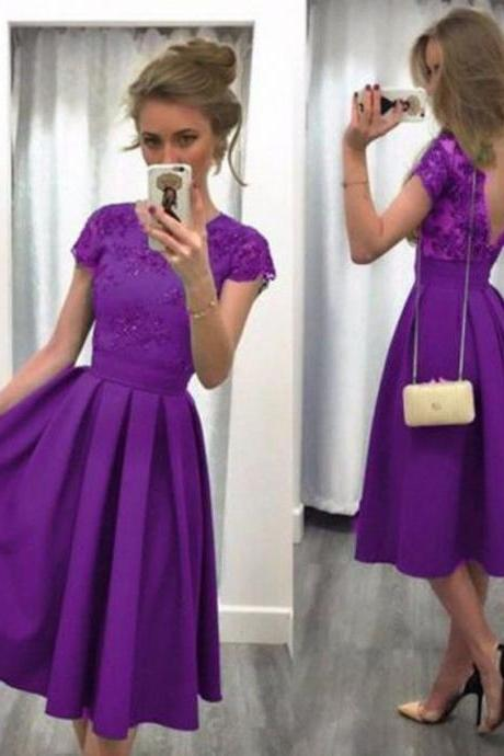 Short Purple Satin Prom Evening Dresses Lace Formal Party Bridal Gowns Custom