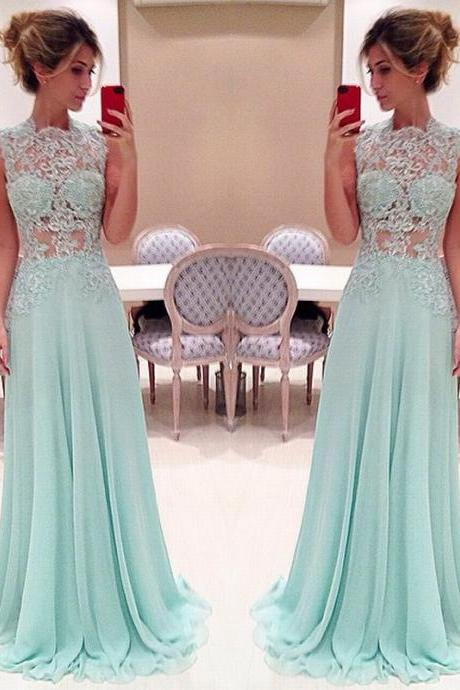 Pretty Light Green Long Prom Dress with Applique Sexy Prom Dresses Prom Dresses Formal Gown