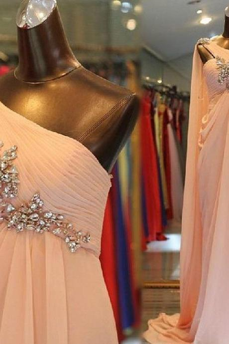 Pretty One Shoulder Pink Chiffon Long Prom Dresses Evening Dress Formal Dress With Beads