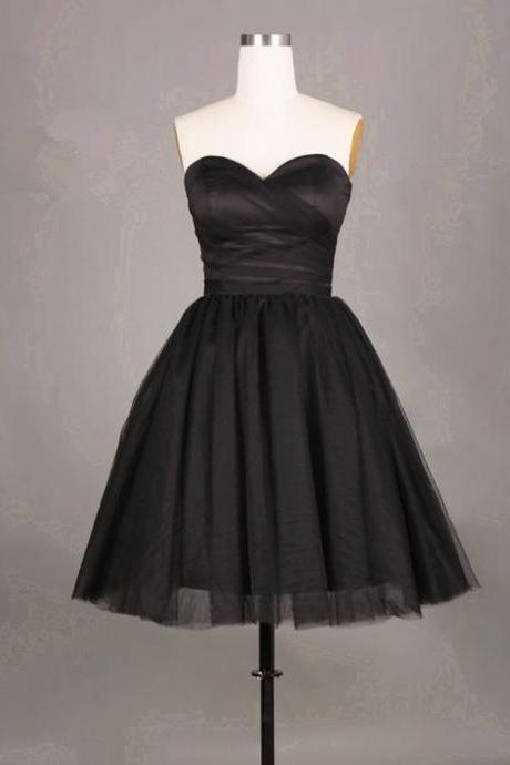 Simple and Cute Black Short Tulle Prom Dresses Short Prom Dresses Graduation Dresses homecoming Dresses