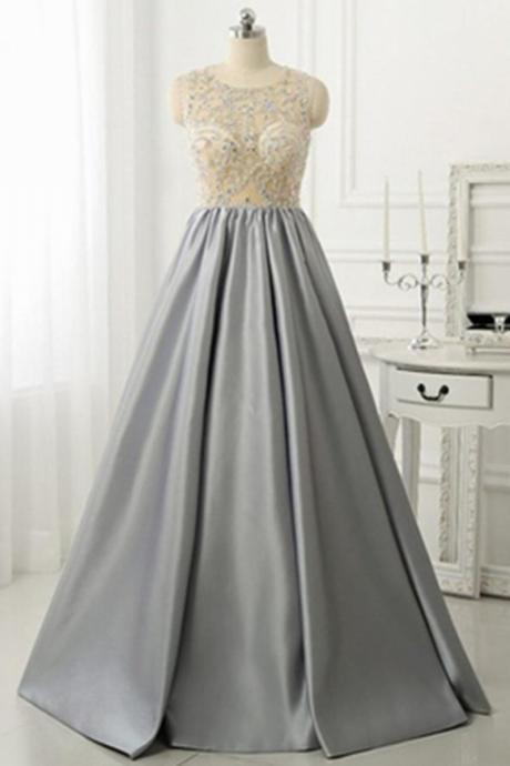 O-neck Grey Satin Prom Dresses Crystals Women dresses