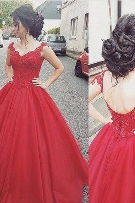 New Charming Prom Dress Tulle Prom Dress Appliques Prom Dress Ball Gown Evening Dress