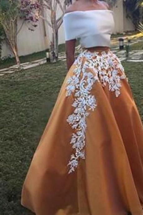 Formal Prom Dress 2 Pieces Prom Dress Off the Shoulder Prom Dress Appliques Evening Dress
