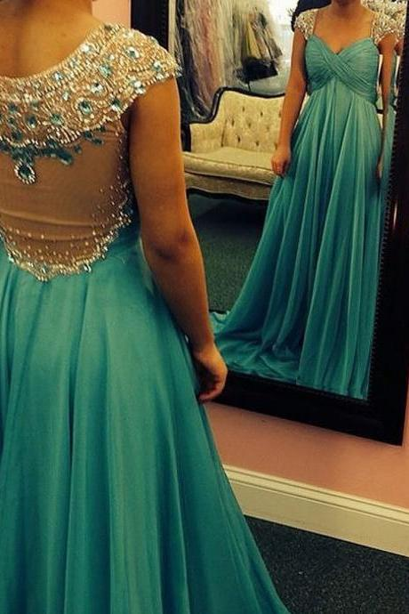 Formal Crystal Prom Dress Chiffon Prom Dress A-Line Prom Dress Beading Evening Dress