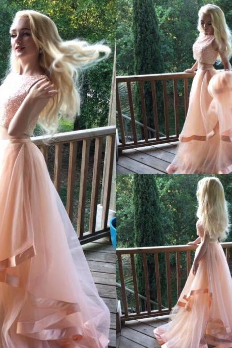 Charming Prom Dress Tulle Prom Dress Beading Prom Dress 2-Pieces Evening Dress