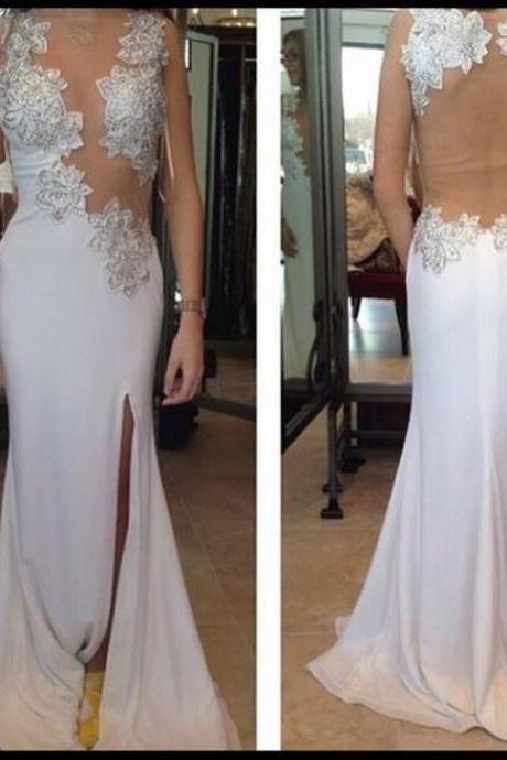 Women's Fashion Prom Dress Chiffon Prom Dress Appliques Prom Dress Backless Evening Dress