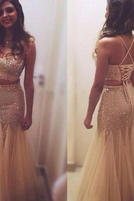 Charming Prom Dress 2 Pieces Prom Dress Spaghetti Straps Prom Dress Beading Evening Dress