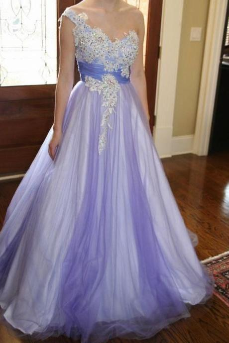 Charming Prom Dress Tulle Prom Dress Appliques Prom Dress One-Shoulder Evening Dress