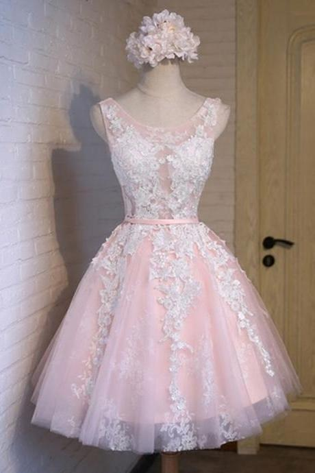 High Quality Homecoming Dress Applqiues Homecoming Dress O-Neck Graduation Dress Tulle Prom Dress