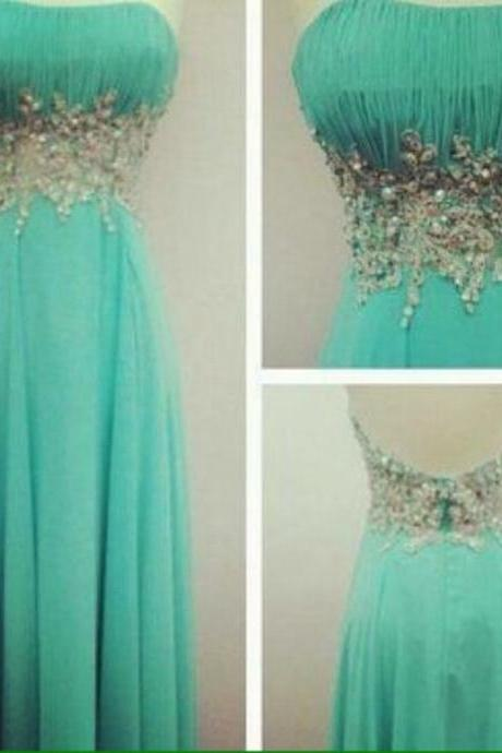 Charming Prom Dress Strapless Prom Dress Chiffon Prom Dress Beading Dress A-Line Evening Dress