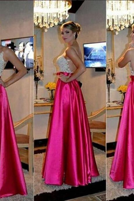 High Quality Prom Dress Satin Prom Dress A-Line Prom Dress Appliques Prom Dress Backless Evening Dress
