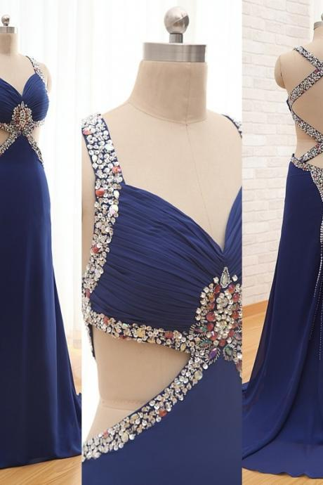 Charming Prom Dress Chiffon Prom Dress Beading Prom Dress Backless Prom Dress V-Neck Evening Dress