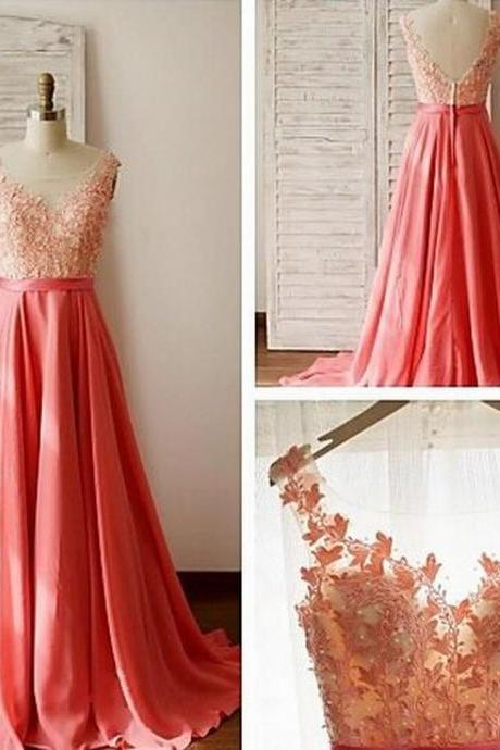 Charming Prom Dress O-Neck Prom Dress Appliques Prom Dress Chiffon Prom Dress A-Line Evening Dress