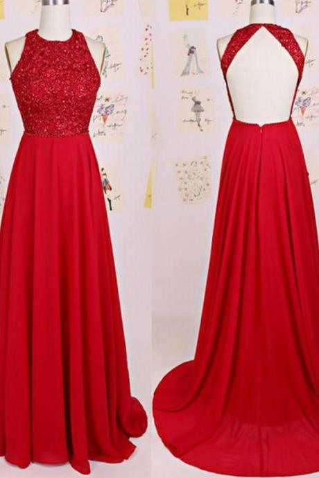 Charming Prom Dress O-Neck Prom Dress A-Line Prom Dress Chiffon Prom Dress Backless Evening Dress