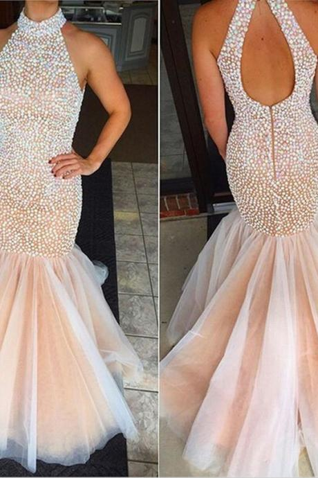 Charming Prom Dress Halter Prom Dress Mermaid Prom Dress Beading Prom Dress Halter Prom Dress