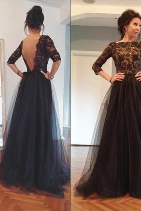 Black Lace Tulle Prom Dress Tulle Prom Dress Half-Sleeves Prom Dress Appliques Prom Dress Backless Prom Dress