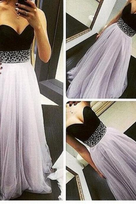 Sweatheart Gray Tulle Prom Dress Sweetheart Prom Dress Beading Prom Dress A-Line Prom Dress