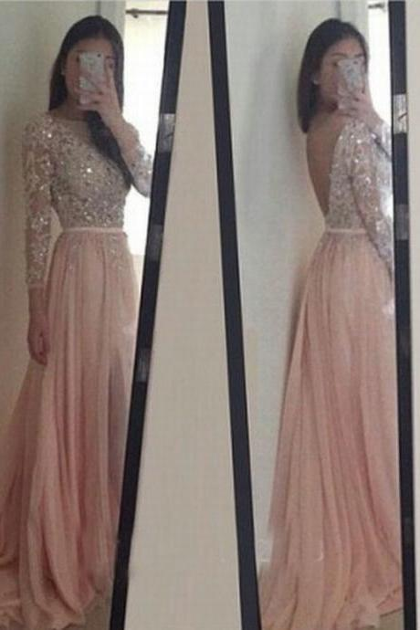 Fashion Chiffon Prom Dress Backless Prom Dress Appliques Prom Dress A-Line Prom Dress Long Sleeve