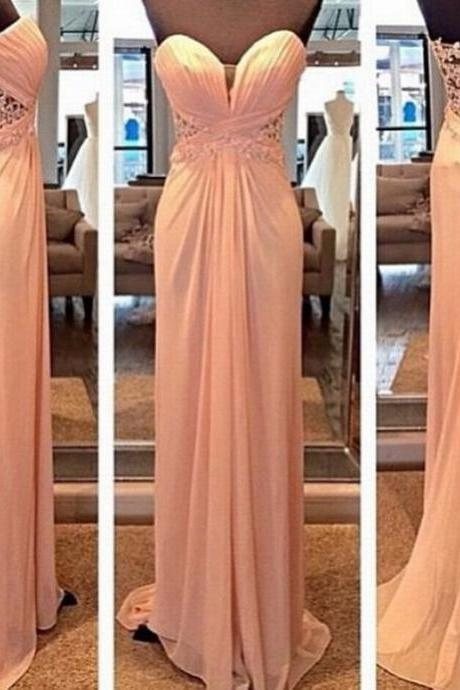 Charming Prom Dress Chiffon Prom Dress Lace Prom Dress Sweetheart Prom Dress Floor-Length Prom Dress