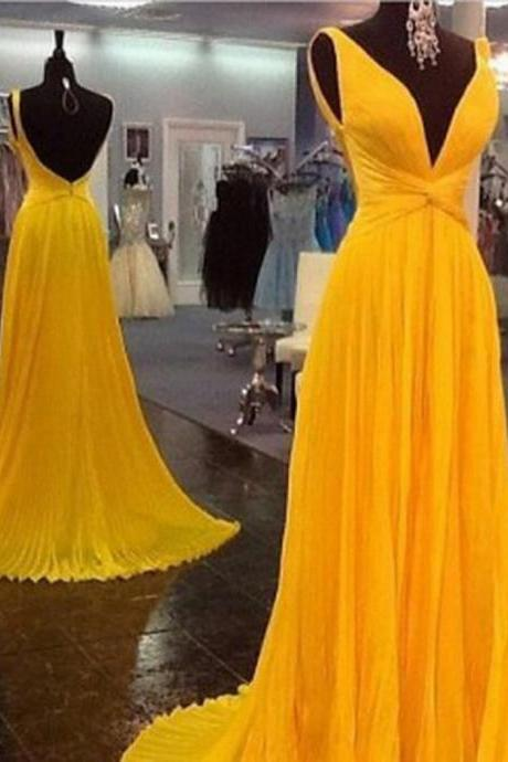 High Quality Prom Dress Chiffon Prom Dress Pleat Prom Dress Backless Prom Dress V-Neck Prom Dress